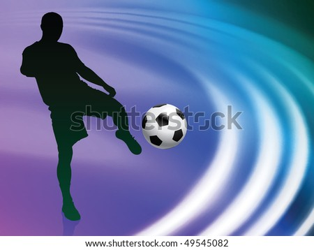 Soccer Player on Abstract Liquid Wave Background Original Vector Illustration