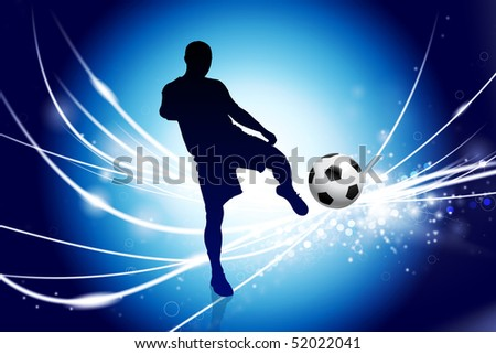 Soccer Player on Abstract Modern Light Background Original Illustration