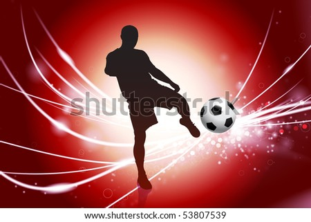 Soccer Player on Abstract Red Light Background Original Illustration