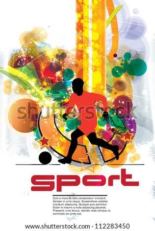 Soccer player poster - stock vector