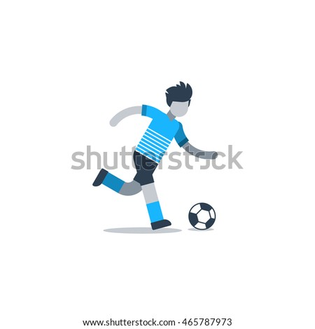 Soccer player running, football defender, forward, midfielder. Flat design vector illustration, isolated on white