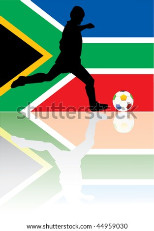soccer player south africa - stock vector