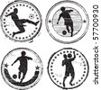 Soccer player stamps - stock photo