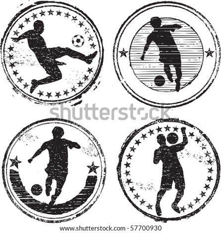 Soccer player stamps - stock vector