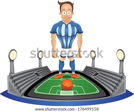 Soccer player standing at the stadium - stock vector