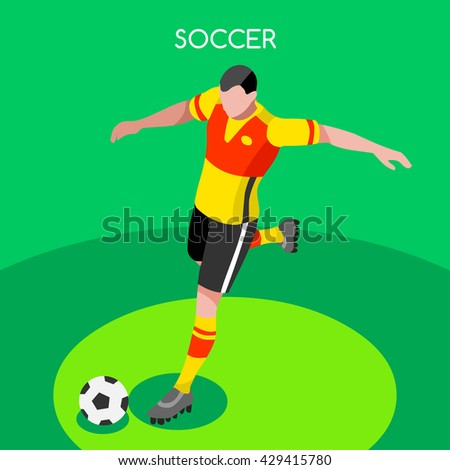 Soccer Player Striker Athlete.Soccer Field France EURO 2016.Vector France 2016 Football Match. EURO Championship Soccer Game International Match Illustration. Soccer Field and Player European Cup 2016 - stock vector