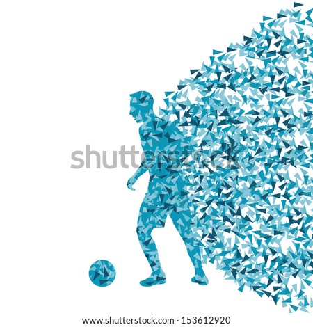 Soccer player vector background concept made of fragments - stock vector