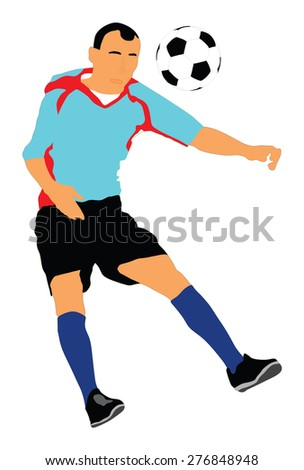 Soccer player vector isolated on white background. High detailed football player cutout outlines. air duel situation.