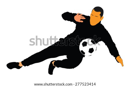 Soccer player vector isolated on white background. High detailed football player cutout outlines. Goalkeeper in action.