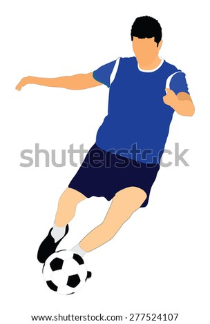 Soccer player vector isolated on white background. High detailed football player cutout outlines. Dribbling situation.