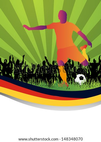 Soccer player with custom flag kicks the ball - stock vector