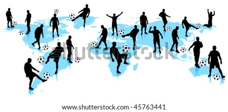 Soccer Player with World Map Background Original Vector Illustration
