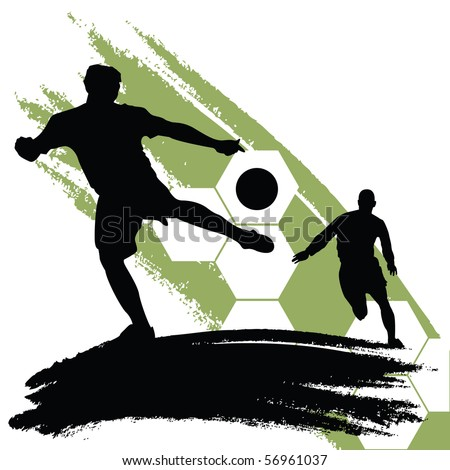 soccer players - stock vector