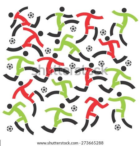 Soccer players decorative background. Stylized Soccer players on the white background. Vector illustration.  - stock vector