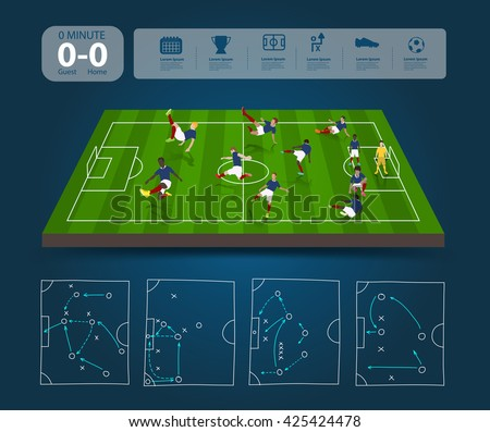 Soccer players in different positions with soccer field with team formation, Creative drawing strategy plan manager, vector illustration template layout design - stock vector