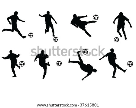 soccer players moves vector silhouette