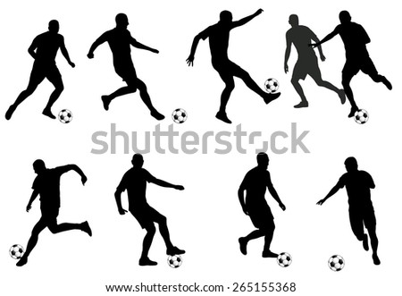 soccer players silhouettes - stock vector