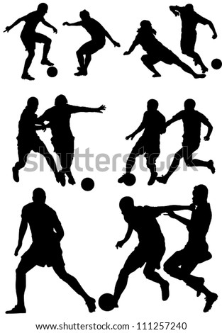 Soccer players silhouettes.Football players silhouettes. - stock vector