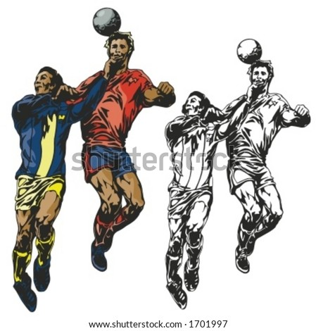 Soccer players. Vector illustration - stock vector