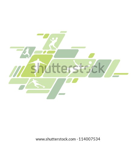 Soccer players with ball - stock vector