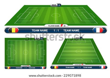 soccer playing field with strategy elements. Vector illustration.  - stock vector