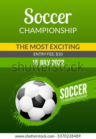 Soccer Poster Template Football Vector Flyer Element Match Design Brochure