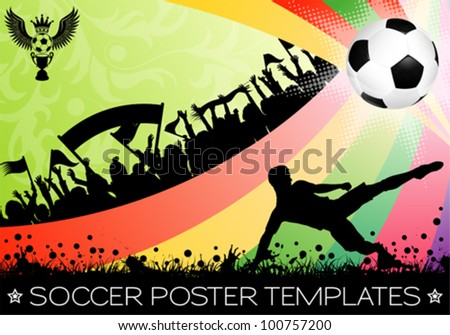 Soccer Poster with Ball on Grunge Background, Silhouette Fans and Floral, vector