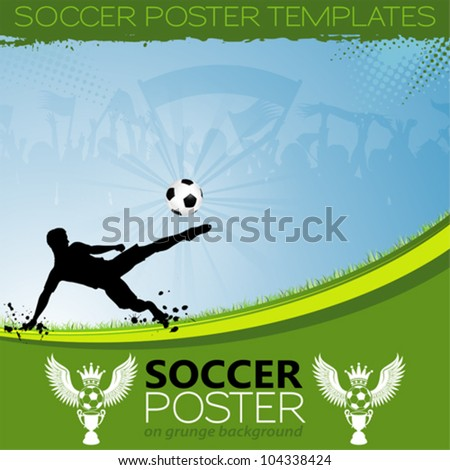 Soccer Poster with Players, Cup and Fans, element for design, vector illustration - stock vector