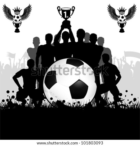 soccer poster with winning football team with the cup in his hands and fans vector