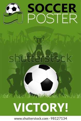 Soccer Poster with Winning Team with the Cup in his hands, vector illustration - stock vector