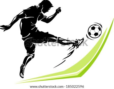 Soccer Power Kick Stock Vector (Royalty Free) 185022596 ...