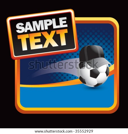 soccer referee ball on blue halftone sign - stock vector