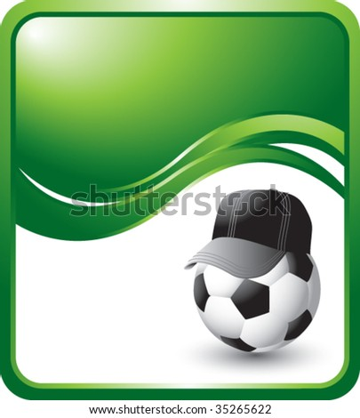 soccer referee ball on green wave background - stock vector