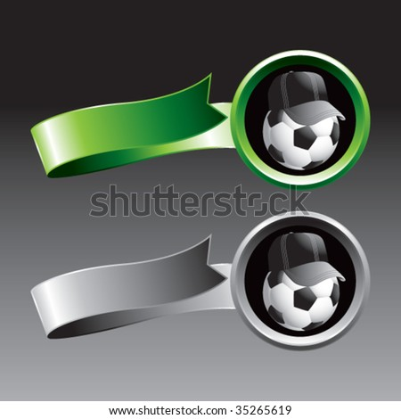 soccer referee ball on ribbon banners - stock vector