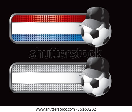 soccer referee ball on specialized banners - stock vector