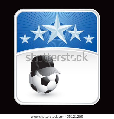 soccer referee ball on star background - stock vector