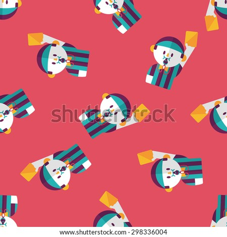 soccer referee flat icon,eps10 seamless pattern background - stock vector