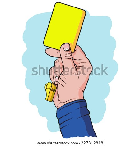 Soccer referees hand with yellow card, hand drawn, vector illustration - stock vector