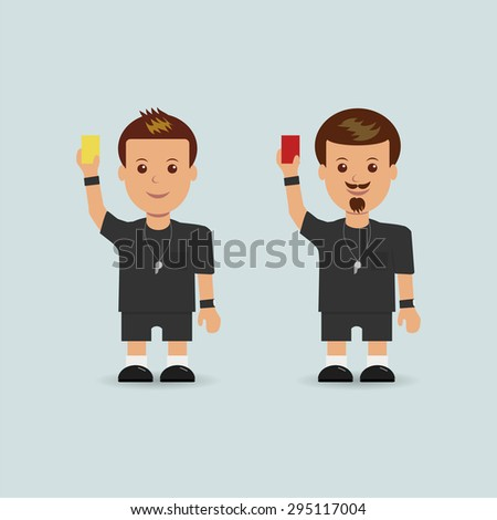 Soccer referees holding red and yellow card. - stock vector
