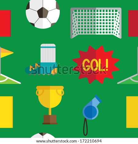 soccer seamless pattern - stock vector