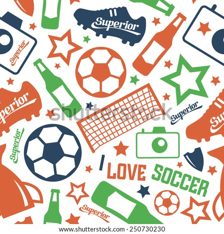 Soccer  seamless pattern. Color print on a white background - stock vector