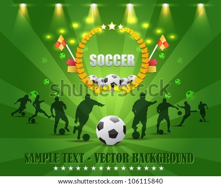 Soccer Shield Vector Design - stock vector