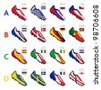 Soccer shoes of national flags - stock photo