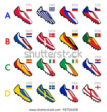 Soccer shoes of national flags - stock vector