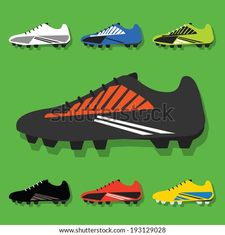 Soccer shoes set icons with shadow on green background- Flat modern design vector - stock vector