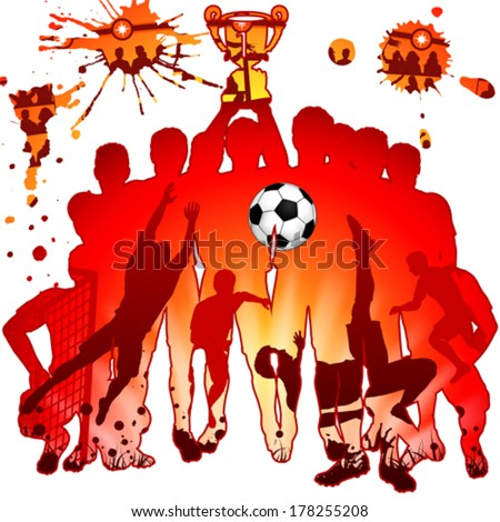 Soccer Silhouettes with Players, Fans and Winning Team, vector illustration - stock vector
