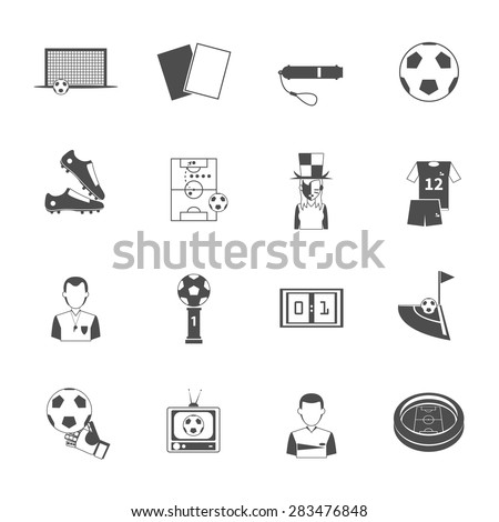 Soccer sport black icons set with referee umpire whistle and goalkeeper glove abstract isolated vector isolated illustration. Editable EPS and Render in JPG format - stock vector