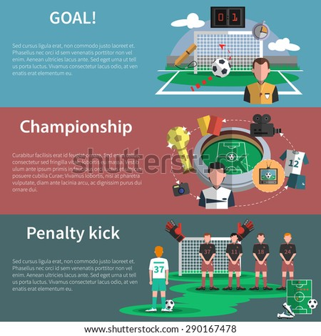 Soccer sport world cup match penalty kick goal flat banners set abstract shadow isolated vector isolated illustration - stock vector