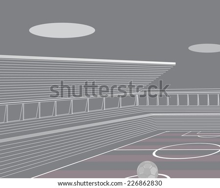 Soccer stadium architectural drawing. - stock vector