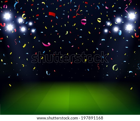 Soccer Stadium celebration with confetti on night  - stock vector